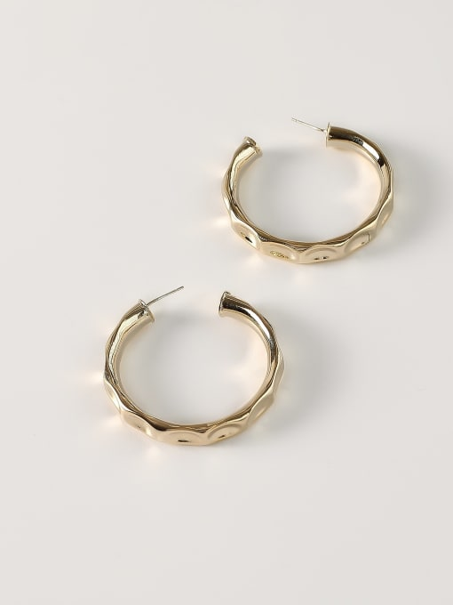 14k Gold [large 4.5cm] Brass Geometric Minimalist Hoop Earring